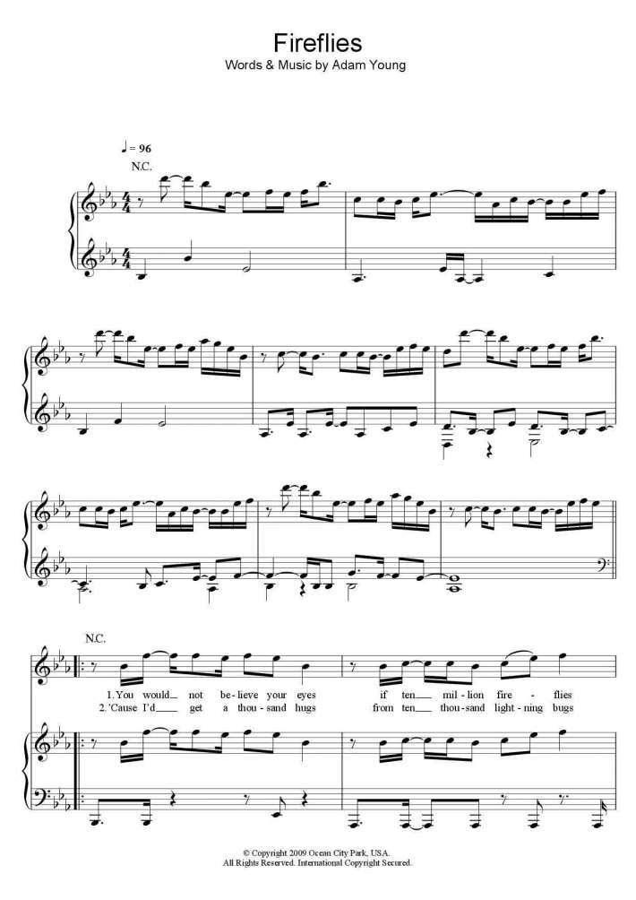 Fireflies Piano Sheet Music | OnlinePianist