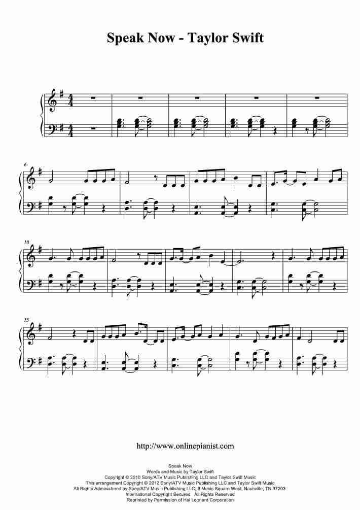 Speak Now piano sheet music