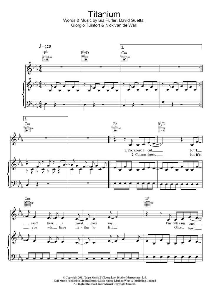 Titanium Piano Sheet Music Onlinepianist