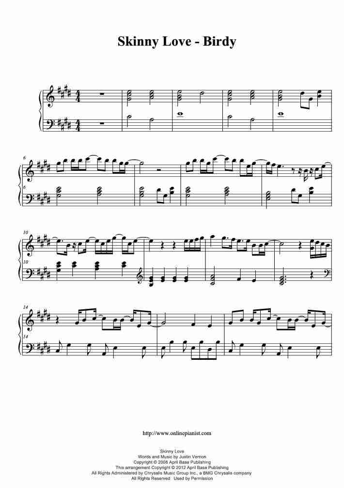 Skinny Love Piano Sheet Music Onlinepianist