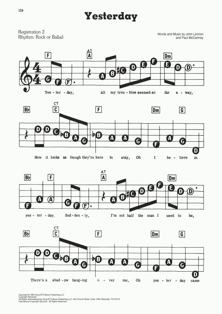 Yesterday Piano Sheet Music Onlinepianist
