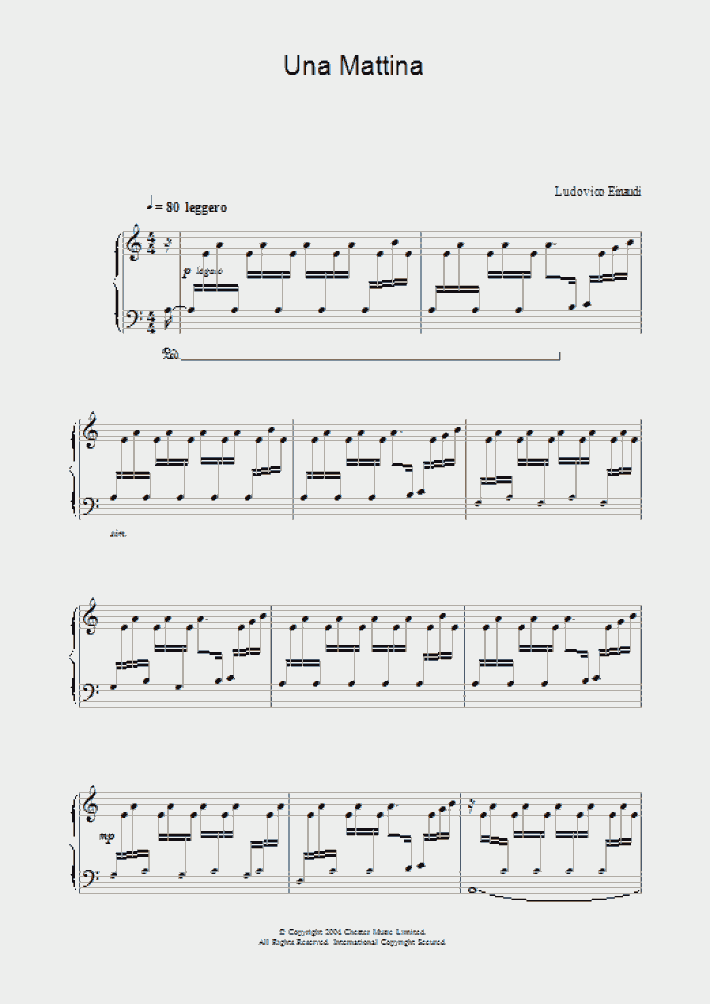 una mattina piano sheet music free