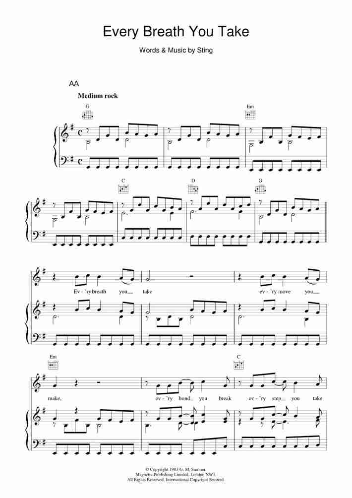 Every Breath You Take piano sheet music
