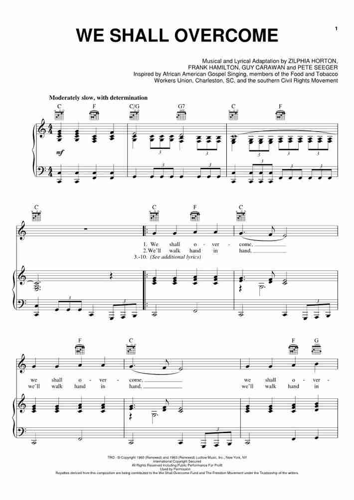 We Shall Overcome Piano Sheet Music Onlinepianist