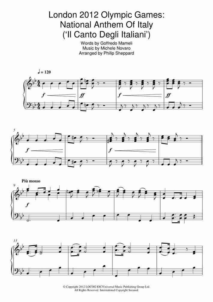 Il Canto degli Italiani piano sheet music