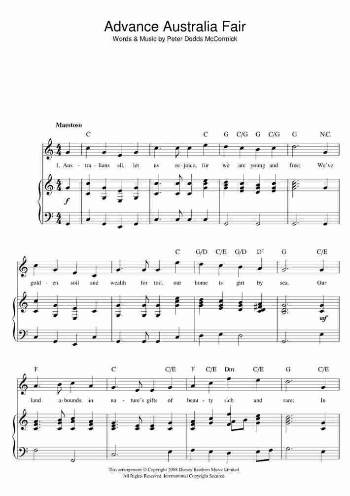 Advance Australia Fair piano sheet music