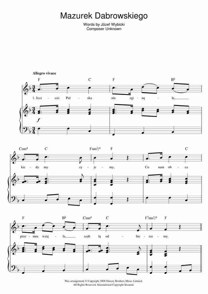 Mazurek Dabrowskiego piano sheet music
