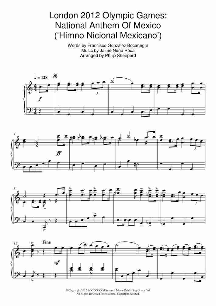 Himno Nacional Mexicano piano sheet music