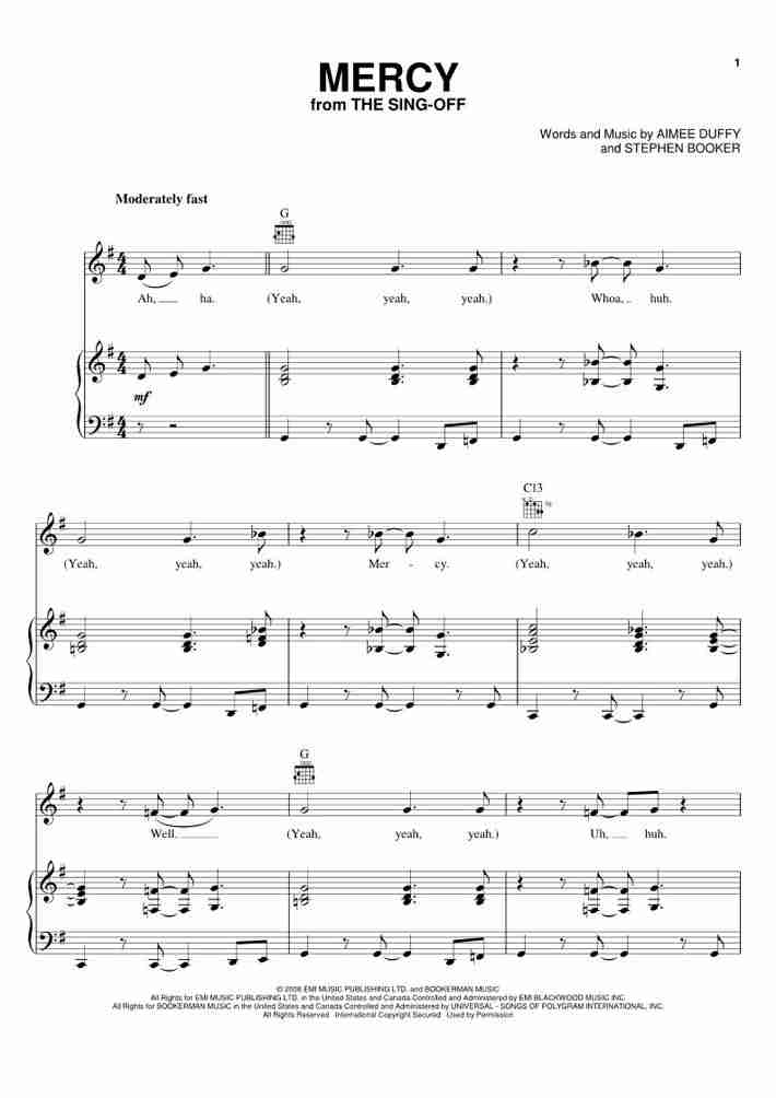 Piano beginning piano sheet music : Mercy Piano Sheet Music | OnlinePianist