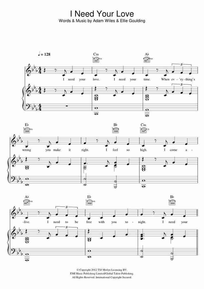 I Need Your Love piano sheet music