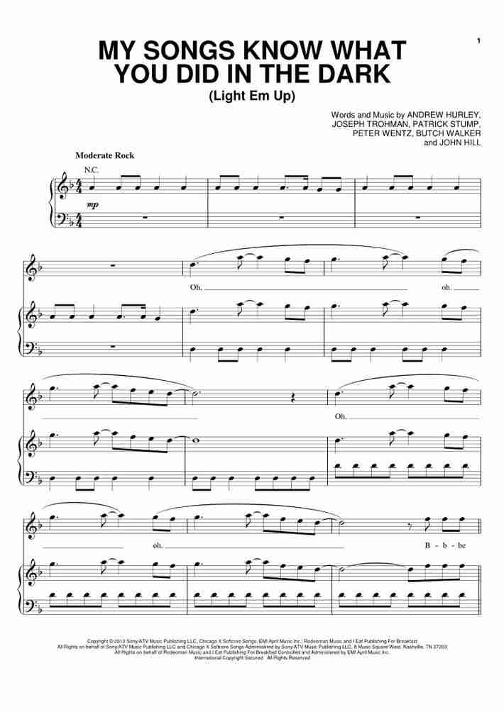All Music Chords fall for you sheet music : My Songs Know What You Did In The Dark Piano Sheet Music