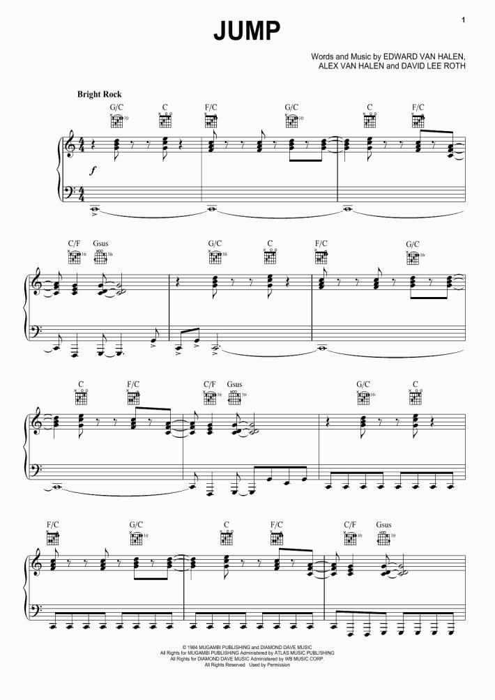 Jump Piano Sheet Music Onlinepianist