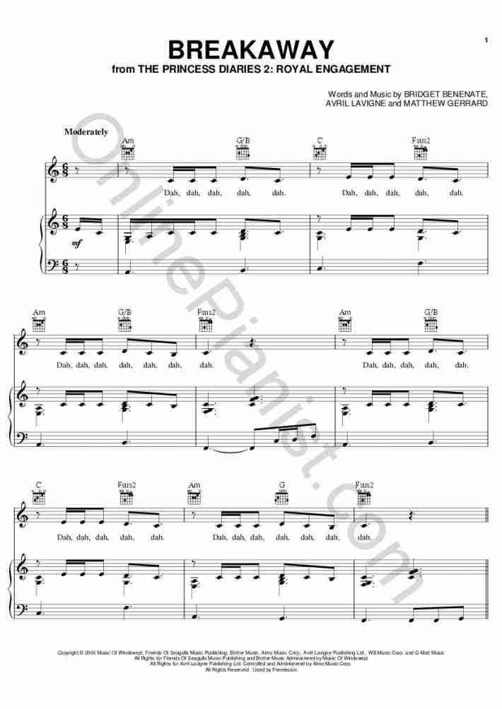 Breakaway (The Princess Diaries 2) piano sheet music