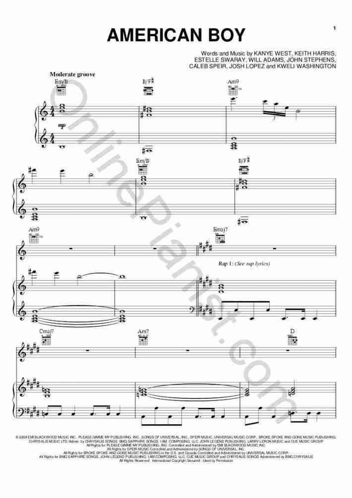 American Boy piano sheet music
