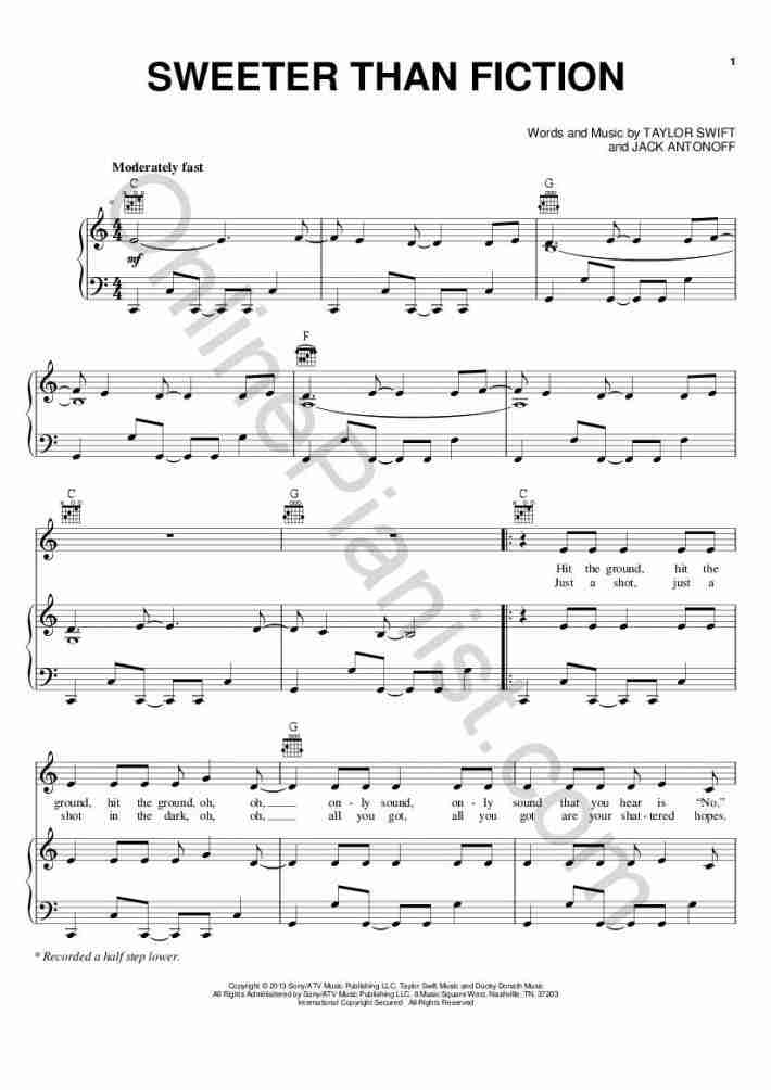 Sweeter Than Fiction (One Chance) piano sheet music