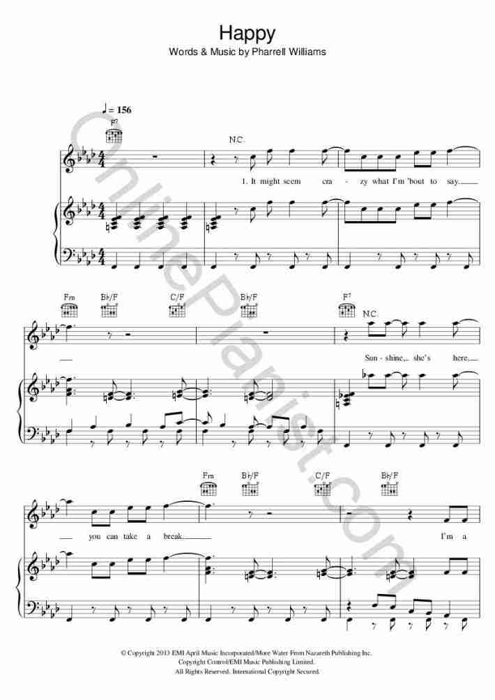 Happy (Despicable Me 2) piano sheet music