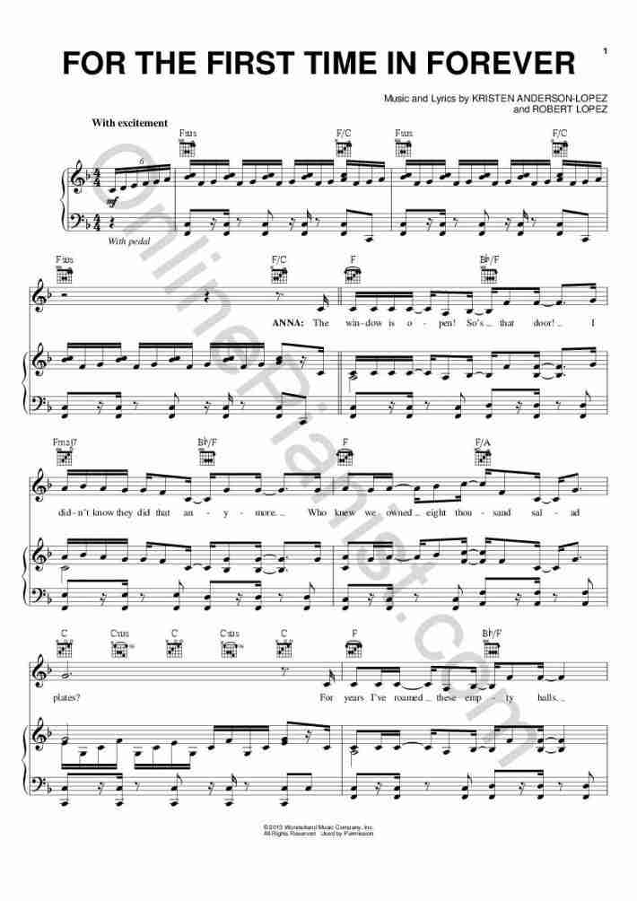 For The First Time In Forever piano sheet music