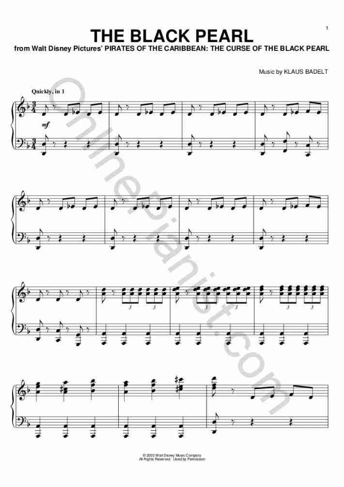 The Black Pearl (Pirates of the Caribbean) piano sheet music