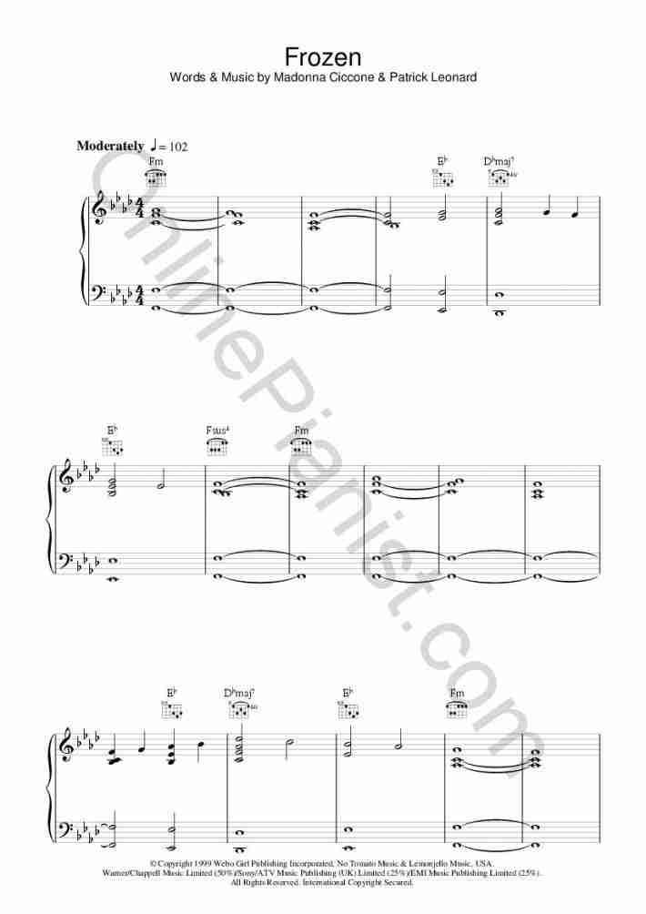 Frozen piano sheet music
