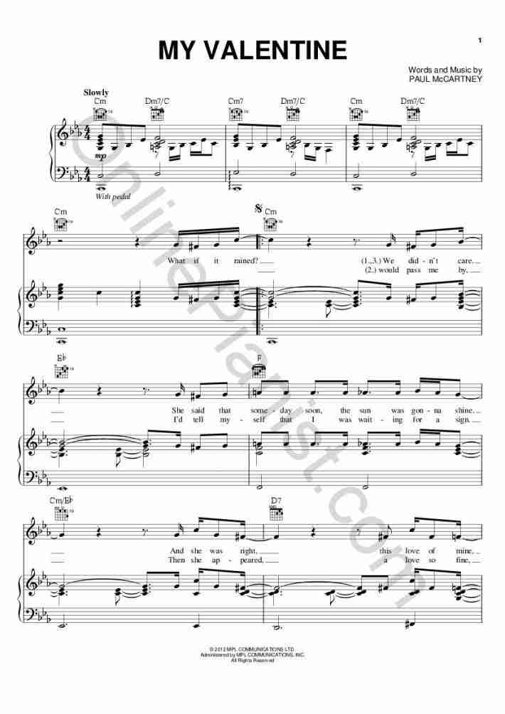 My Valentine Piano Sheet Music Onlinepianist