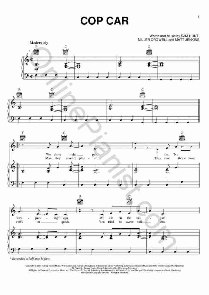 Cop Car piano sheet music
