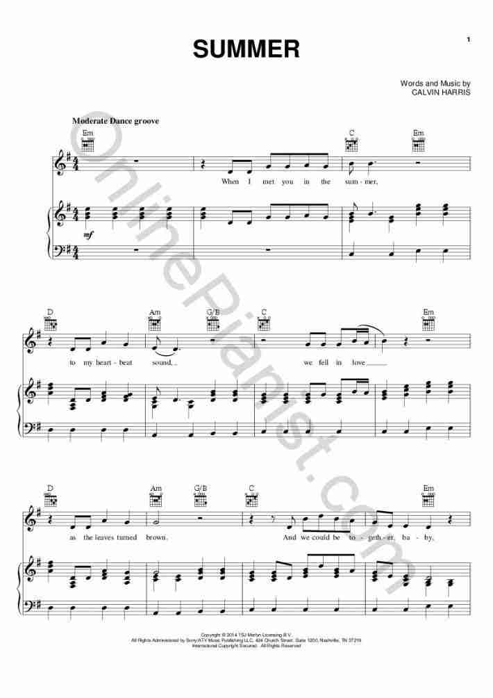 Summer piano sheet music