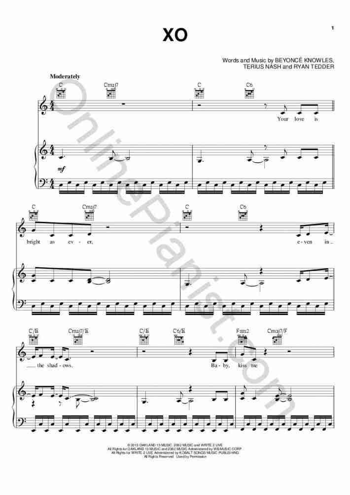 XO piano sheet music