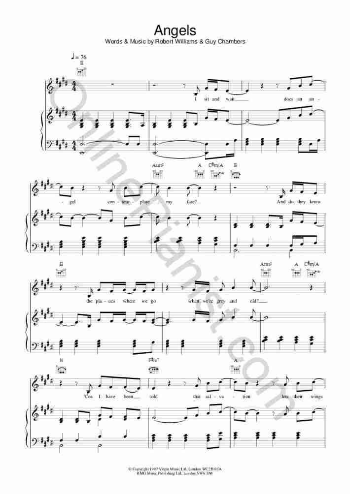 Angels piano sheet music