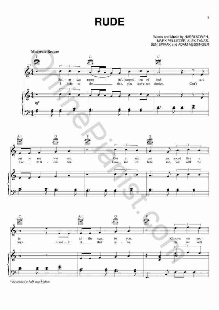 Rude piano sheet music