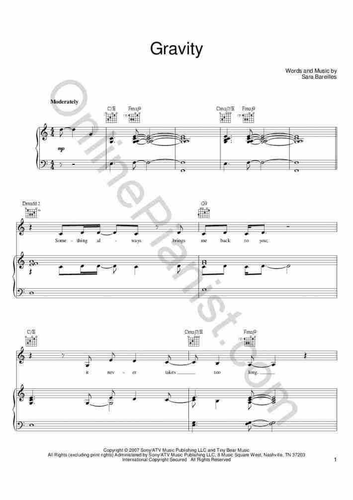 Gravity Piano Sheet Music | OnlinePianist