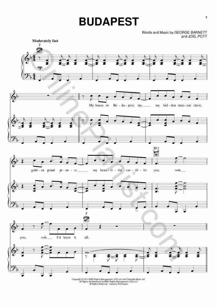 Budapest Piano Sheet Music Onlinepianist
