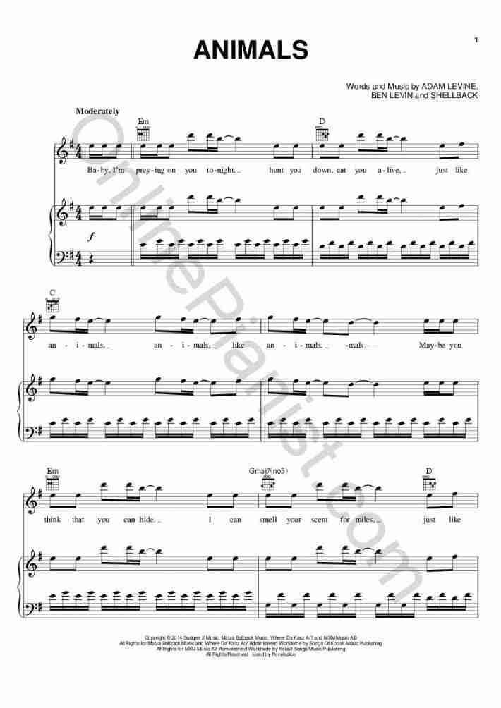Animals piano sheet music