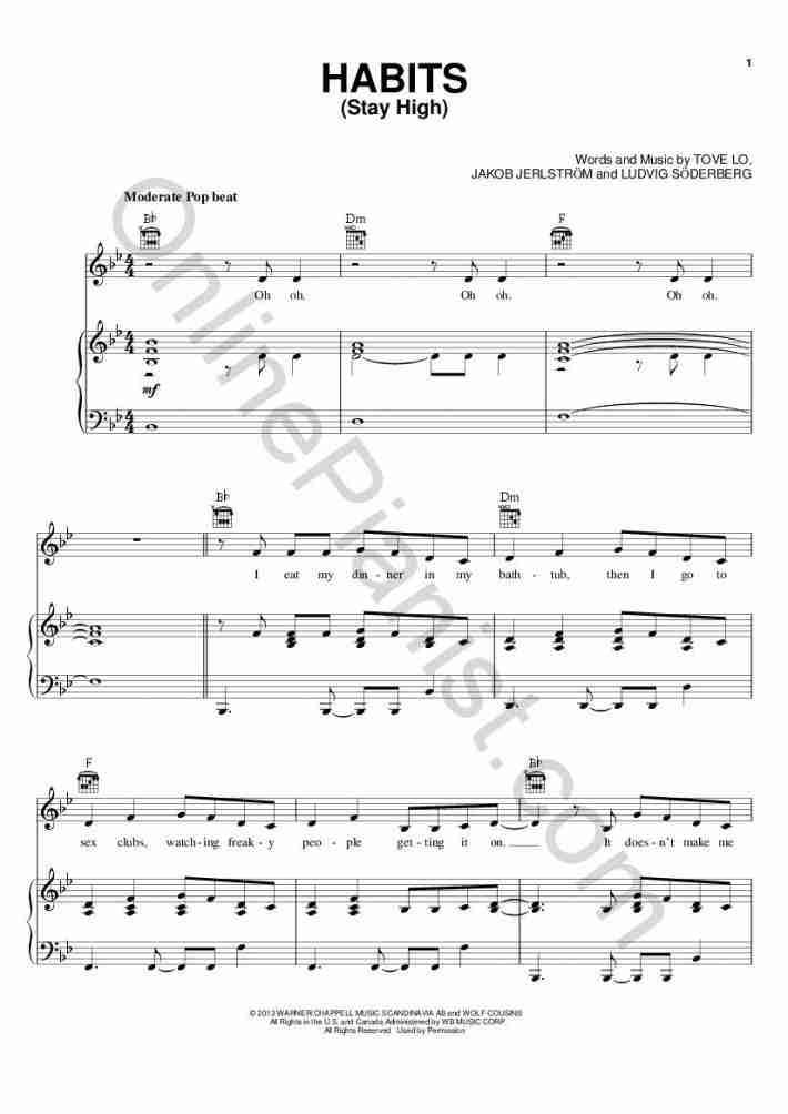 Habits [Stay High] piano sheet music