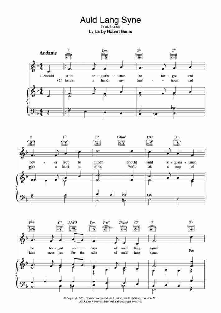 Auld Lang Syne piano sheet music