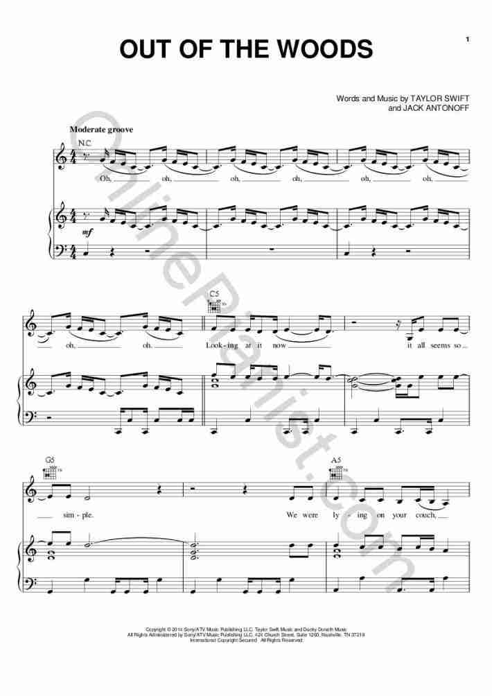 Out Of The Woods Piano Sheet Music Onlinepianist
