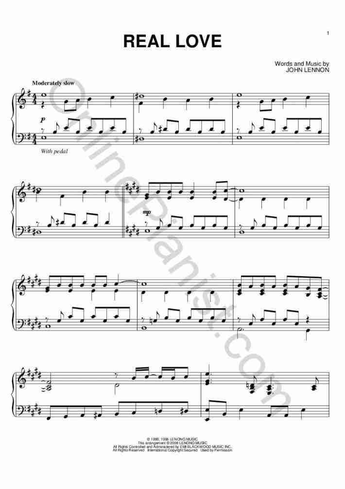 Real Love (John Lewis 2014 Christmas Ad) piano sheet music