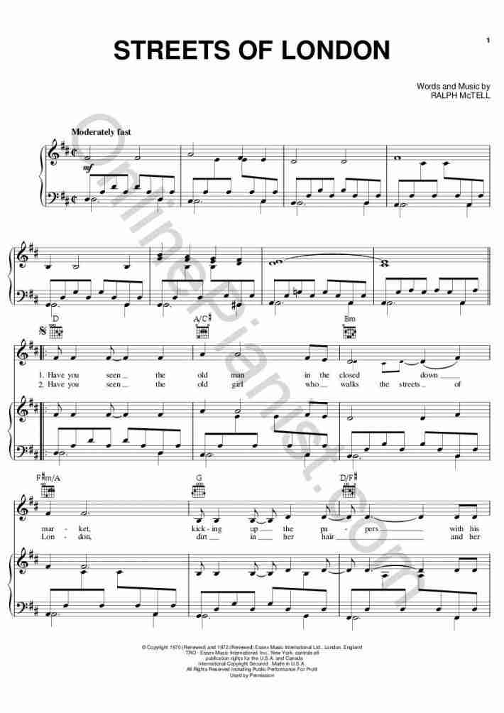 Streets of London piano sheet music
