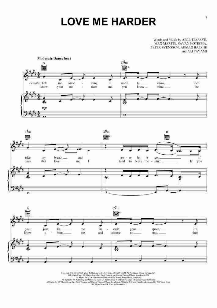 Love Me Harder piano sheet music