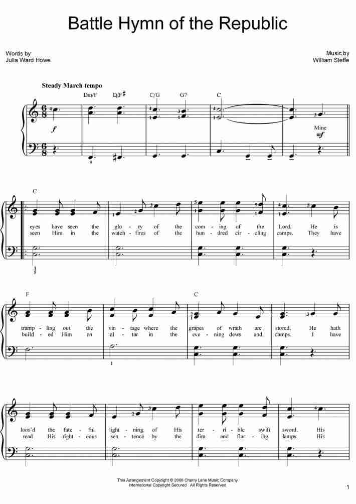 The Battle Hymn of the Republic Piano Sheet Music