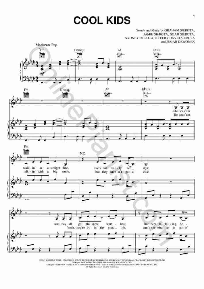 Cool Kids Piano Sheet Music | OnlinePianist