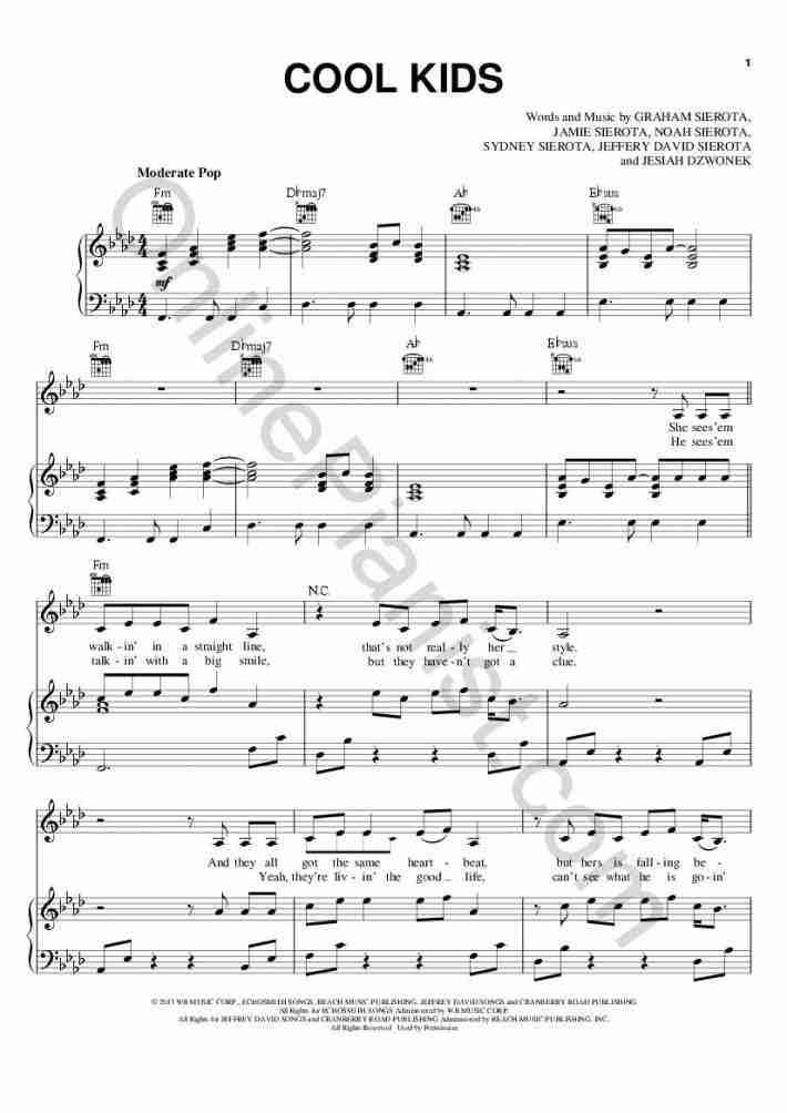 Cool Kids piano sheet music