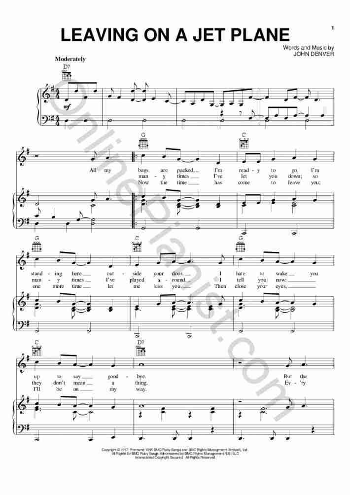 Leaving On A Jet Plane Piano Sheet Music