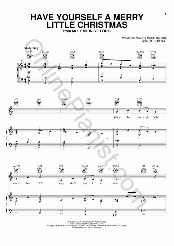 Have Yourself A Merry Little Christmas Piano Music.Have Yourself A Merry Little Christmas Piano Sheet Music