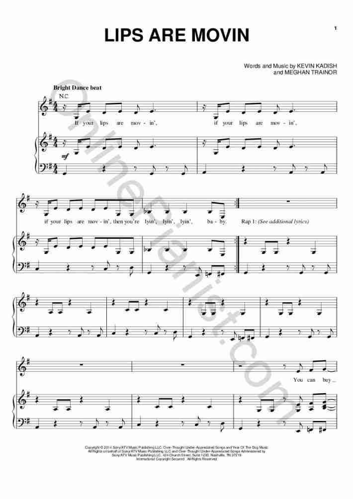 Lips Are Movin piano sheet music