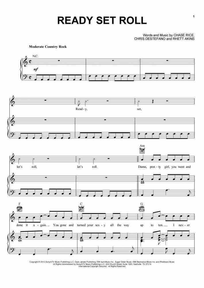 Ready Set Roll piano sheet music