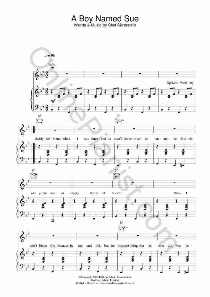A Boy Named Sue piano sheet music