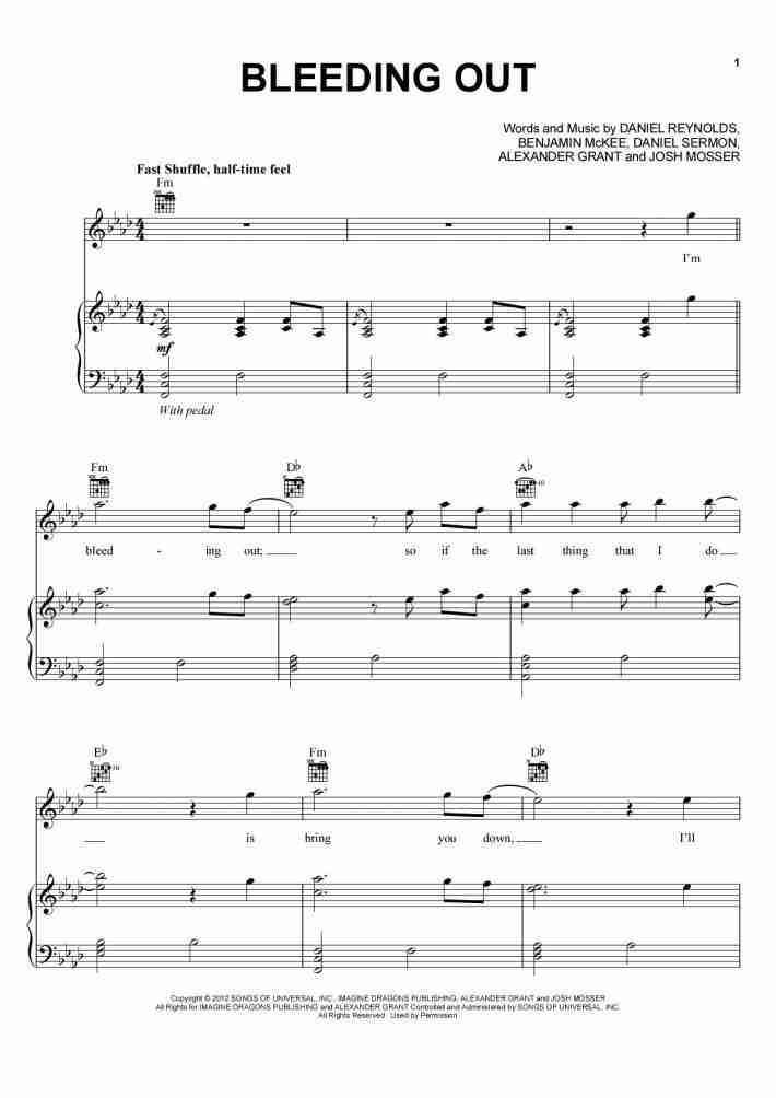 Bleeding Out Piano Sheet Music Onlinepianist