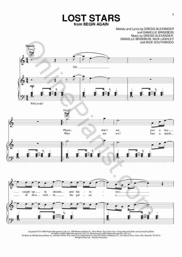 Lost Stars Piano Sheet Music Onlinepianist