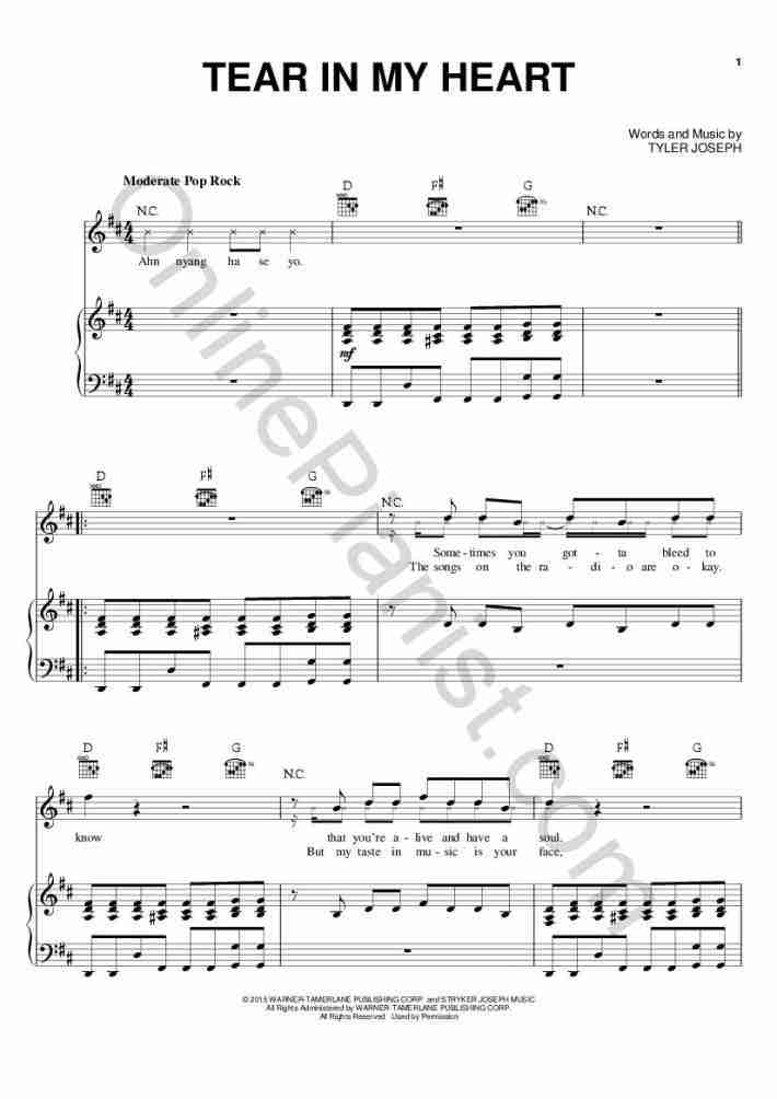 Tear In My Heart Piano Sheet Music Onlinepianist