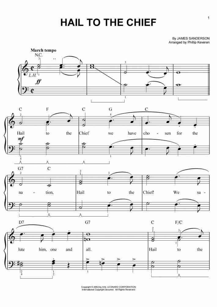 Hail to the Chief Piano Sheet Music | OnlinePianist